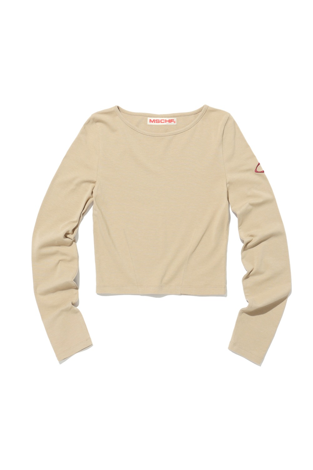 FRONT DARTED BASIC LONG SLEEVE TOP_BEIGE
