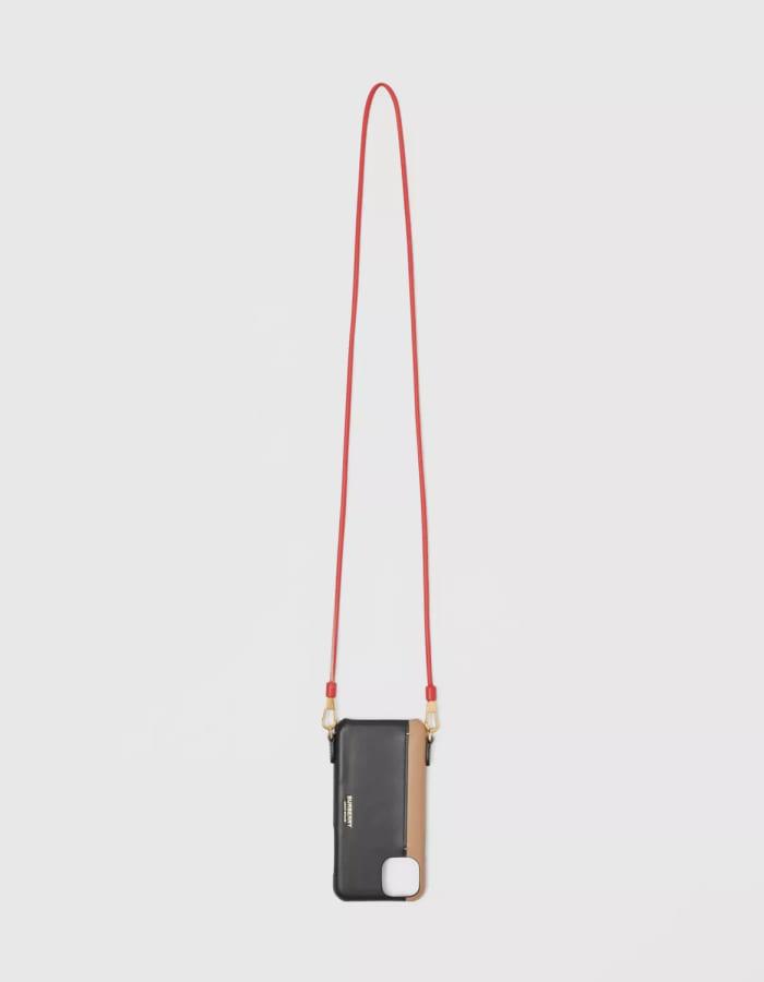 버버리 80367391 투톤 레더 랜야드 케이스 / iPhone 11 Pro / 블랙x카멜