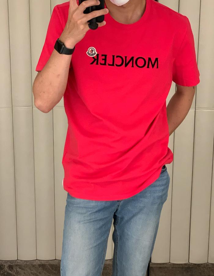 몽클레어 맨즈 레터링 티셔츠 / 모브 핑크