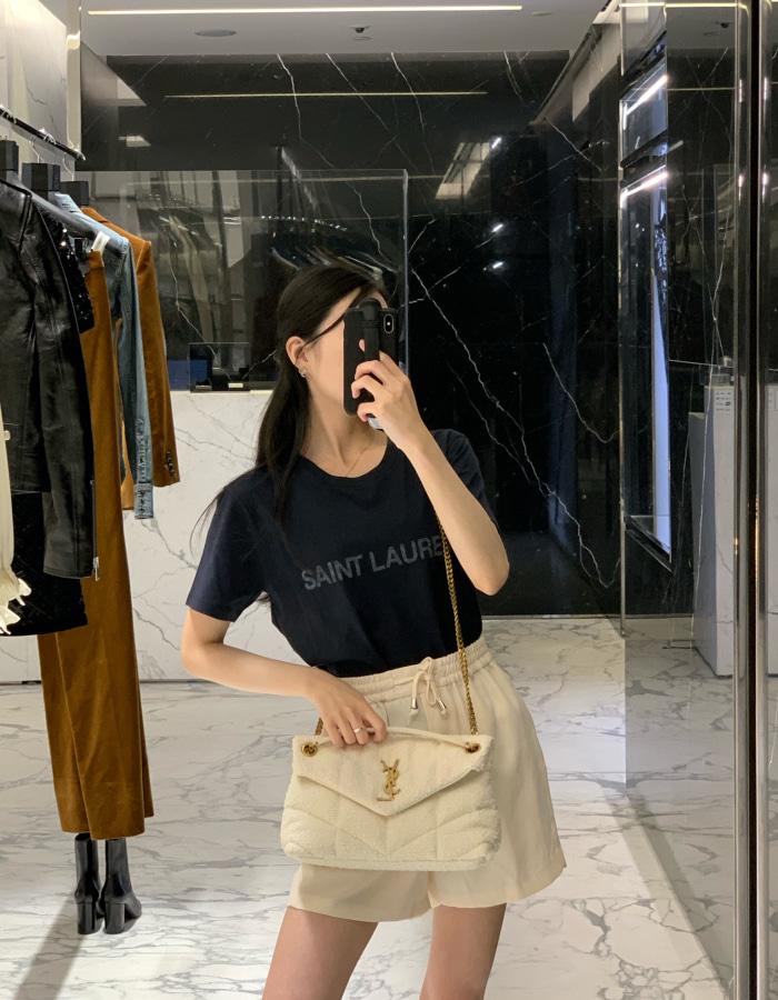 생로랑 665234 리버스 티셔츠 / 네이비