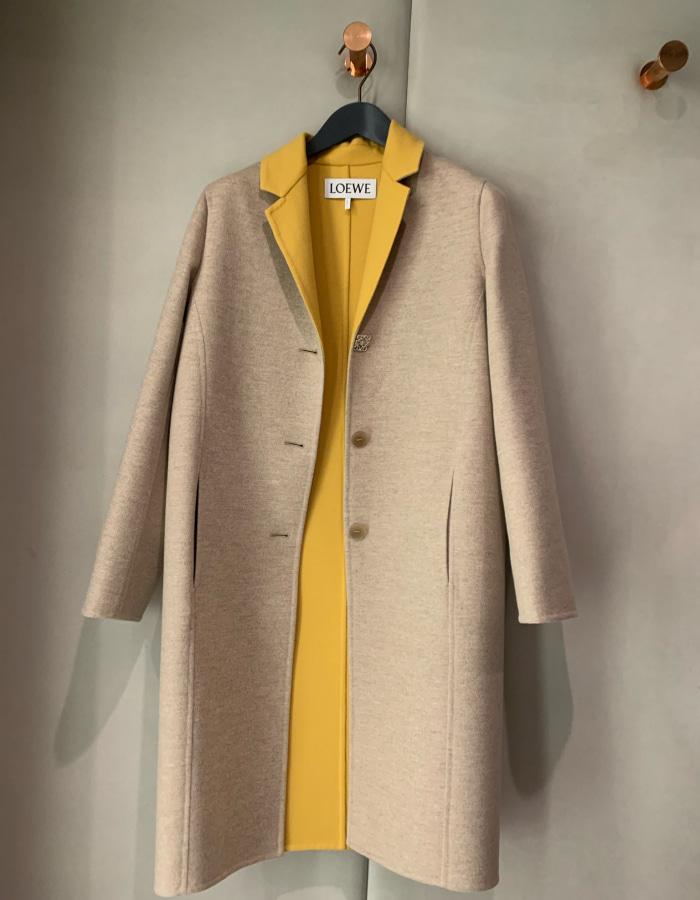 로에베 아나그램 바이 컬러 코트 / 옐로우x그레이