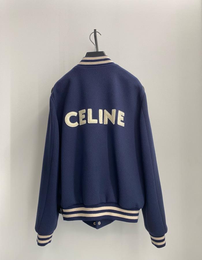 셀린느 맨즈 백 로고 바시티 울 자켓 / 네이비 블루
