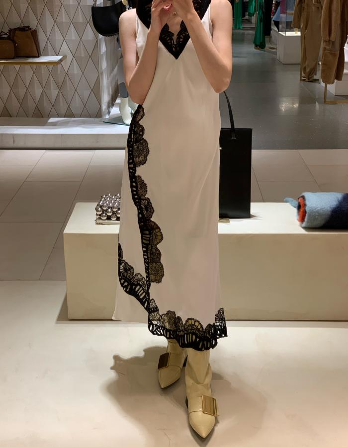 질샌더 엠브로이더드 슬립 드레스 / 화이트