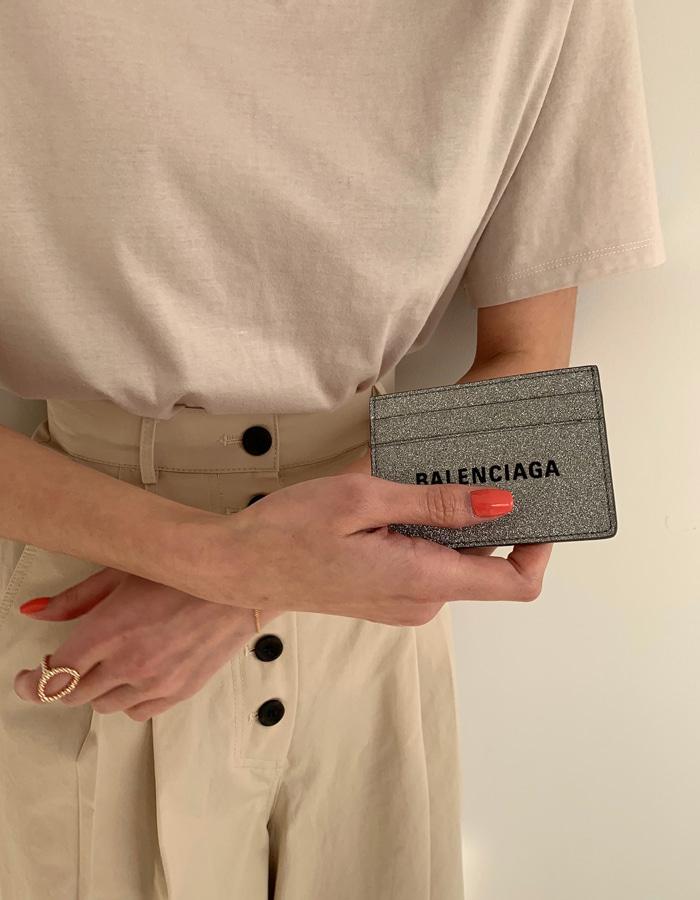 발렌시아가 490620 에브리데이 글리터 멀티 카드 홀더 / 실버