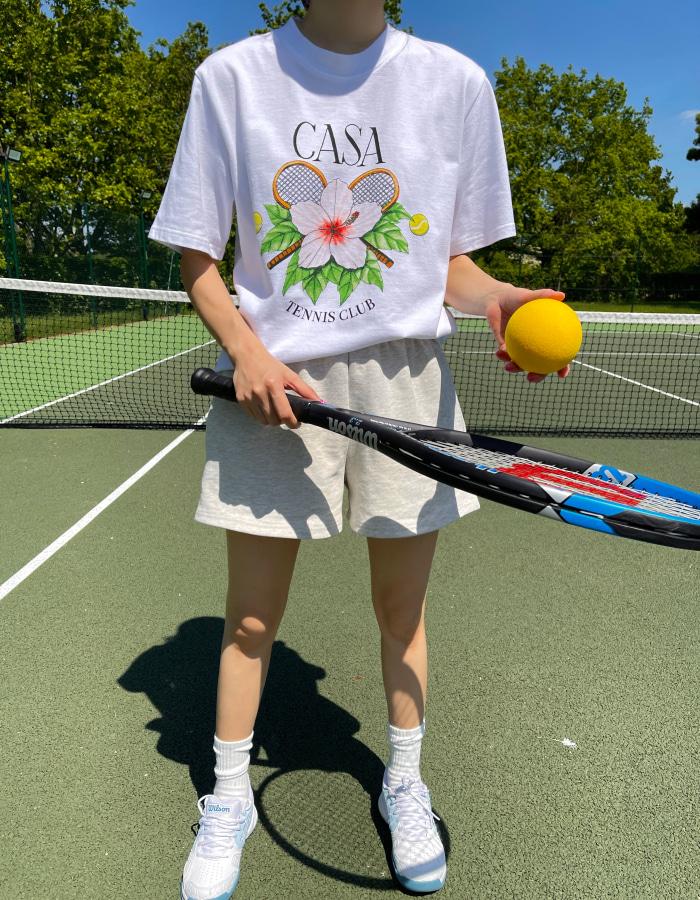 카사블랑카 테니스 클럽 로고 티셔츠 / 화이트