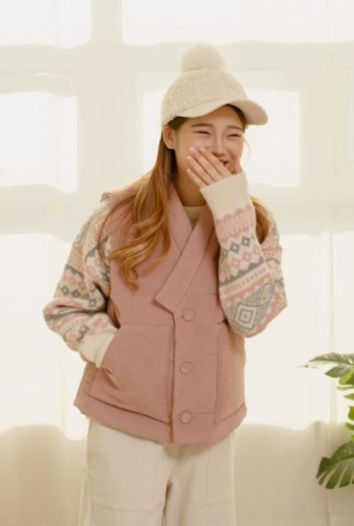 조끼 | 코듀로이 오각주머니 핑크배자 T1J04A029