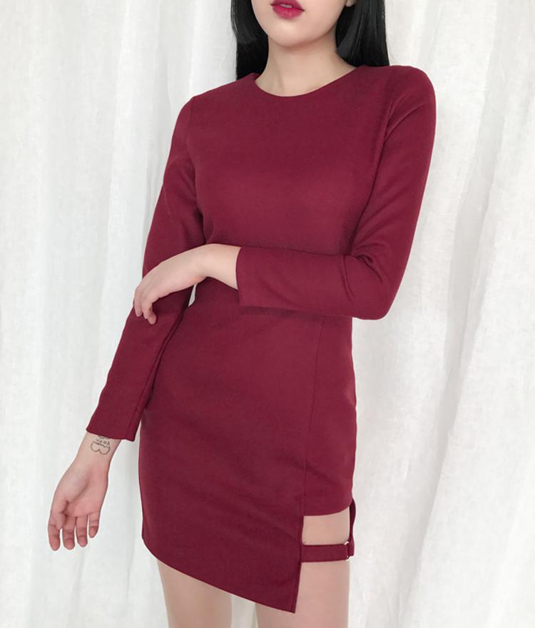 Cut-Out Hem Strap Detail Mini Dress