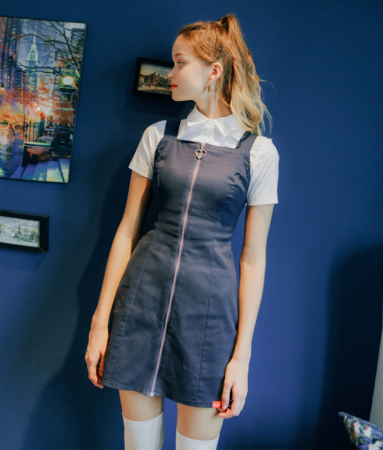 HEART CLUBSquare Neck Zip Dress
