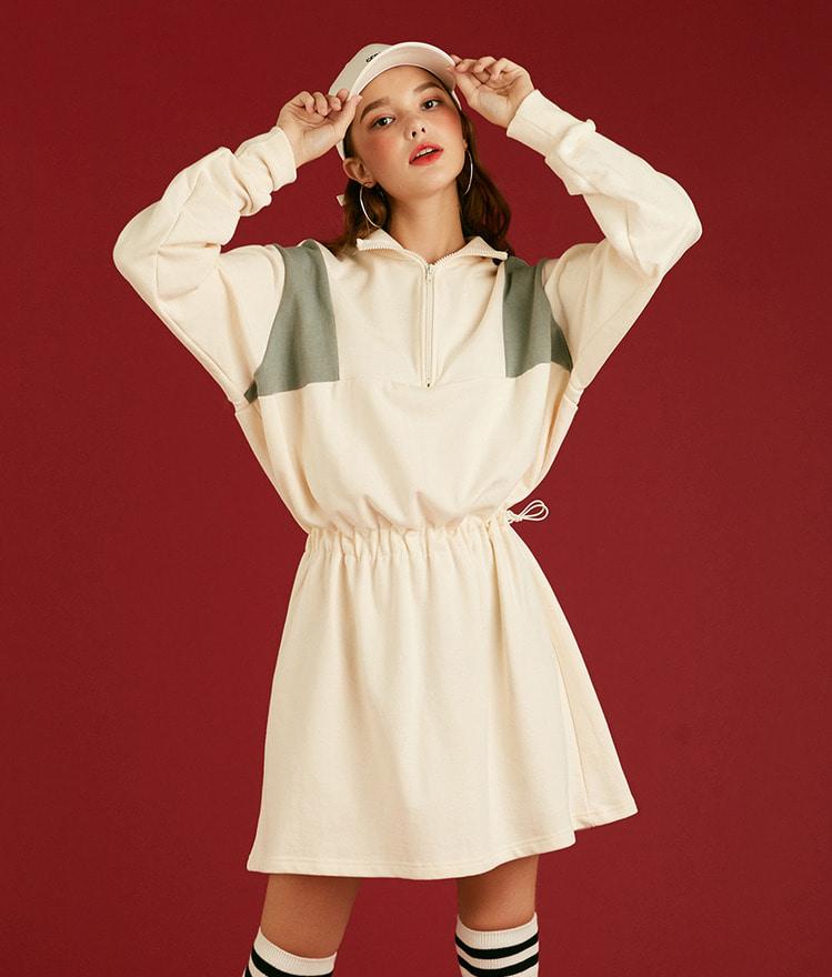NEVERM!NDDrawstring Waist Contrast Panel Dress