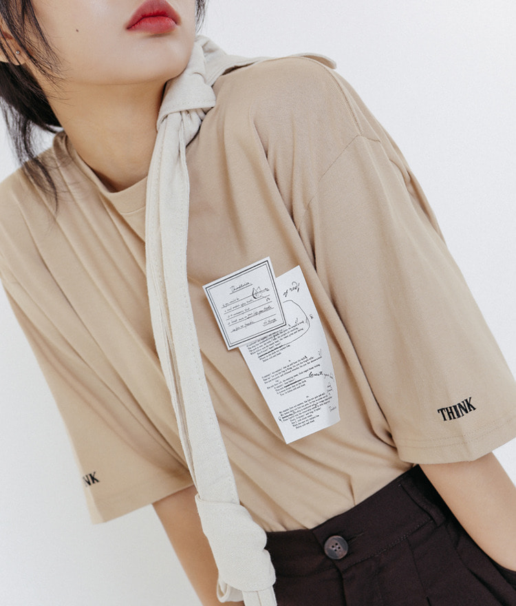 THINKTWICENote Patch Accent T-Shirt