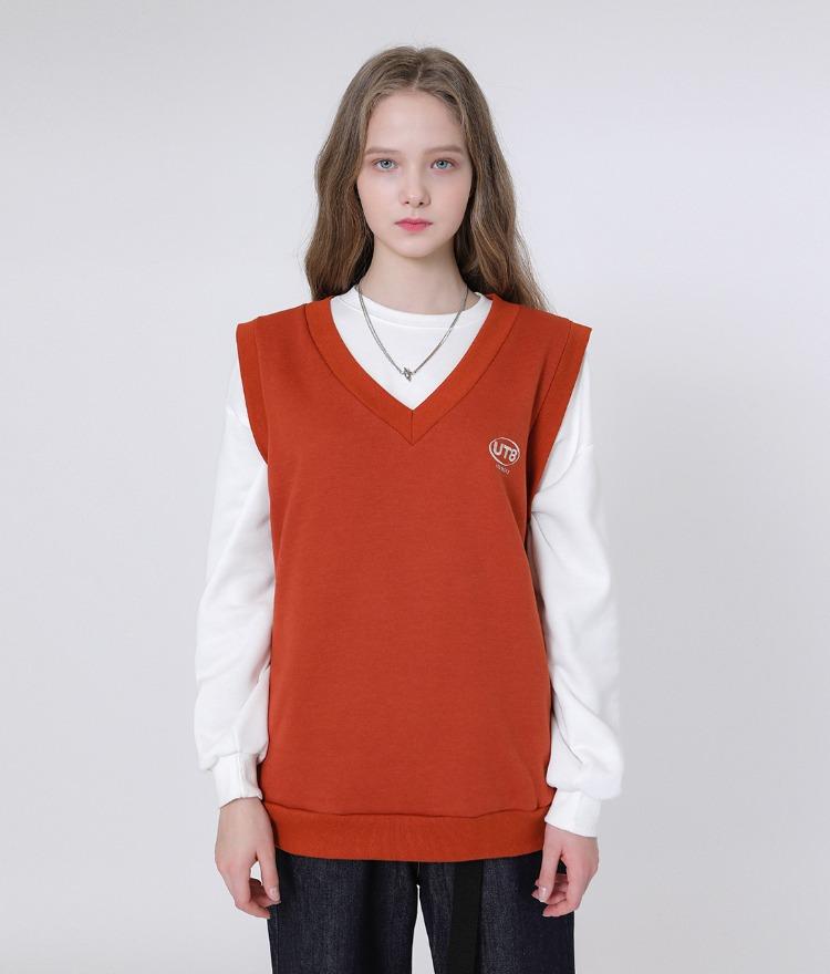 UNTITLE8Embroidered Logo Dark Orange Vest