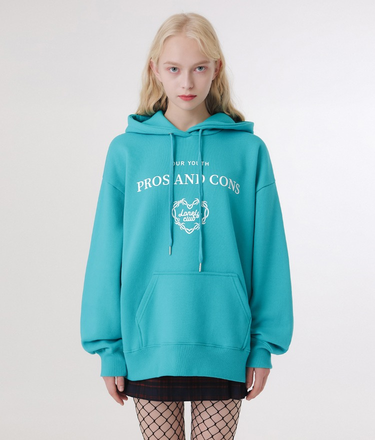 LONELY CLUBContrast Lettering Print Blue Green Hoodie