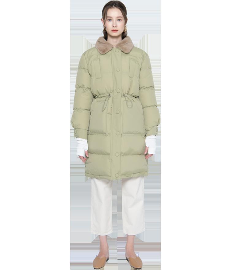 フェイクファー襟中綿コート