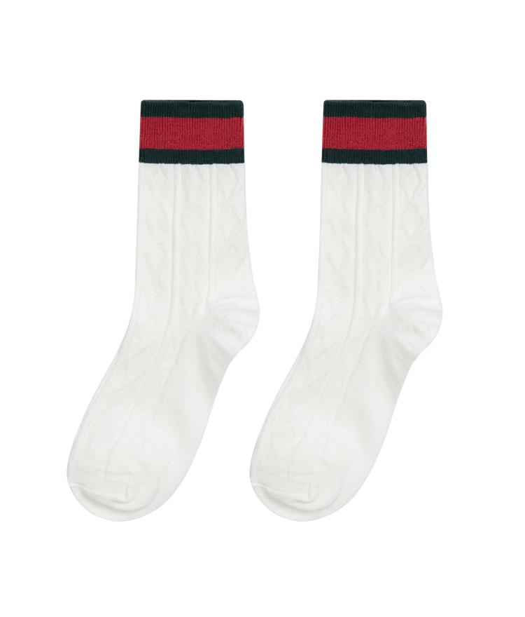 QUIETLABStriped Cuff Cable Pattern Socks