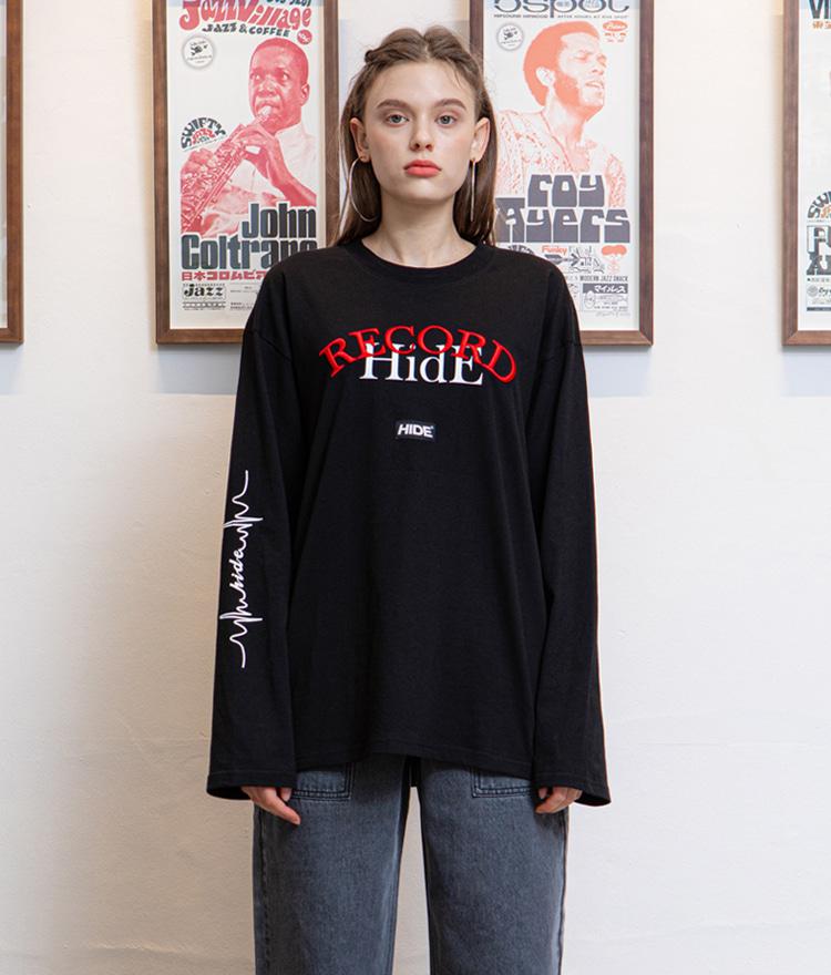 レタリング入りルーズTシャツ(ブラック)