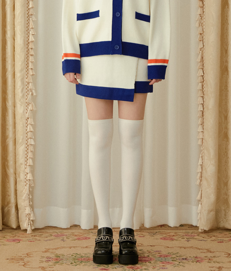 Heart Color Block Knit Skirt (Ivory)