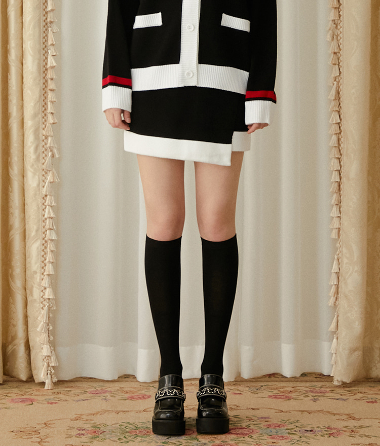 Heart Color Block Knit Skirt (Black)