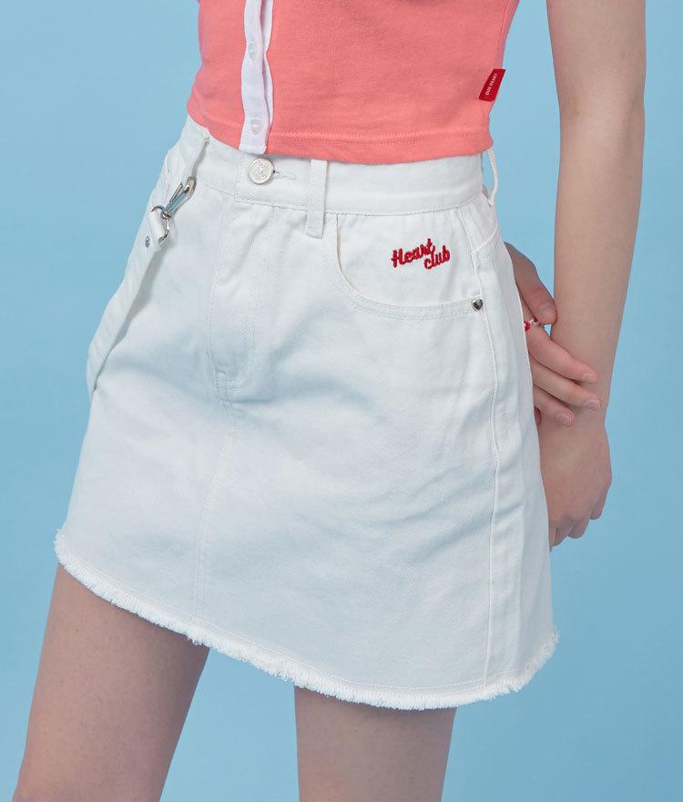 HEART CLUBWhite Strap Accent Mini Skirt
