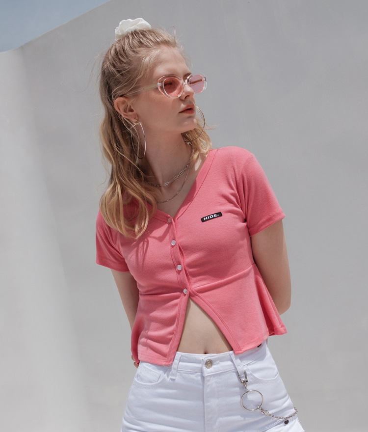 HIDE Frill Button Top (Pink)