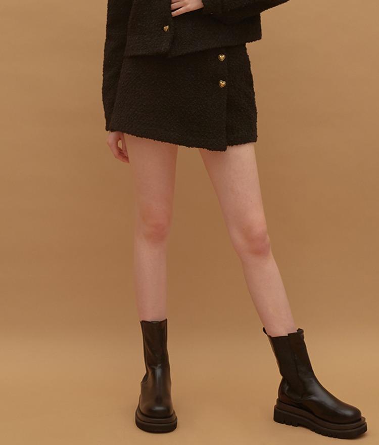HEART CLUBHeart Button Tweed Black Mini Skirt