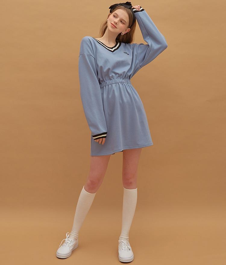 Heart V-neck Jersey Dress (Indi Blue)