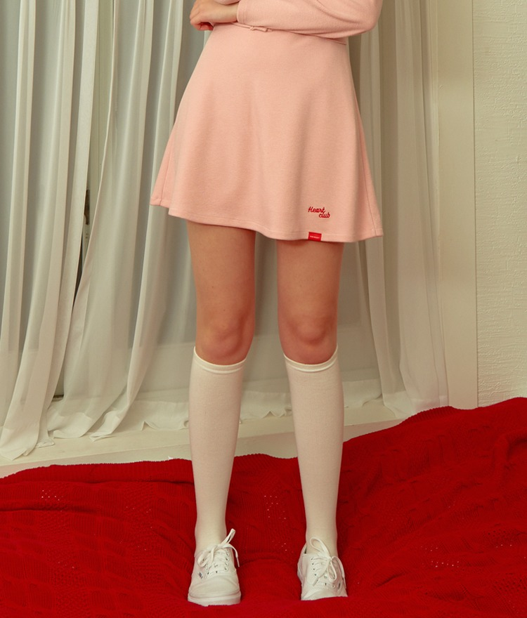 HEART CLUBPink Soft Flared Mini Skirt
