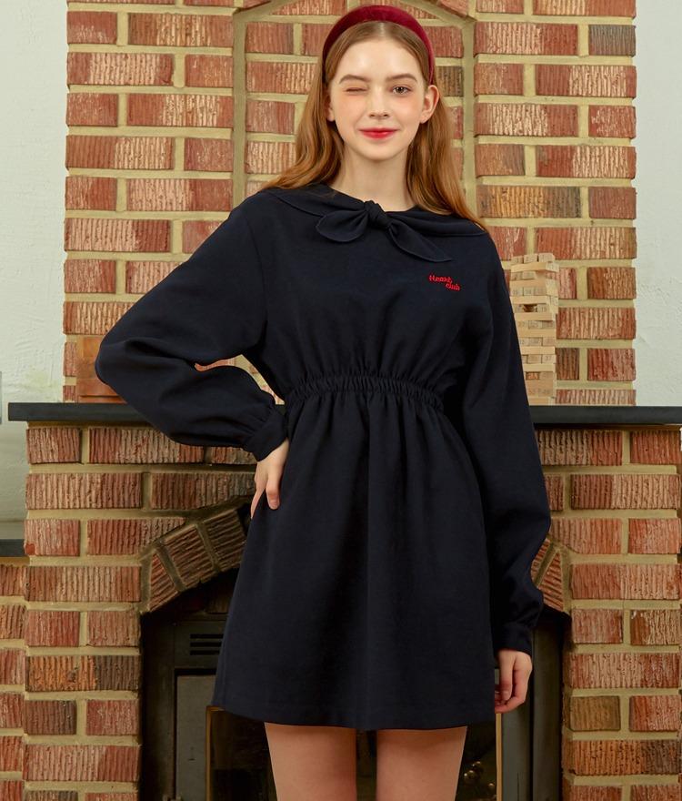 HEART CLUBSelf-Tie Collar Deep Navy Mini Dress