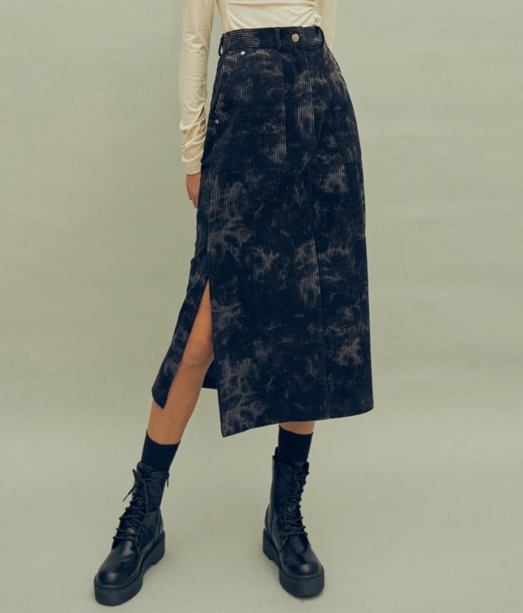 HIDE Slit Long Skirt (Navy)