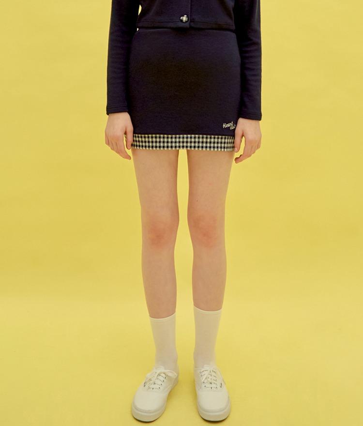 HEART CLUBContrast Check Hem Navy Mini Skirt
