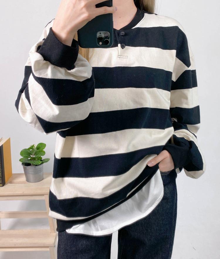 NEVERM!NDBalloon Sleeve Striped Sweatshirt