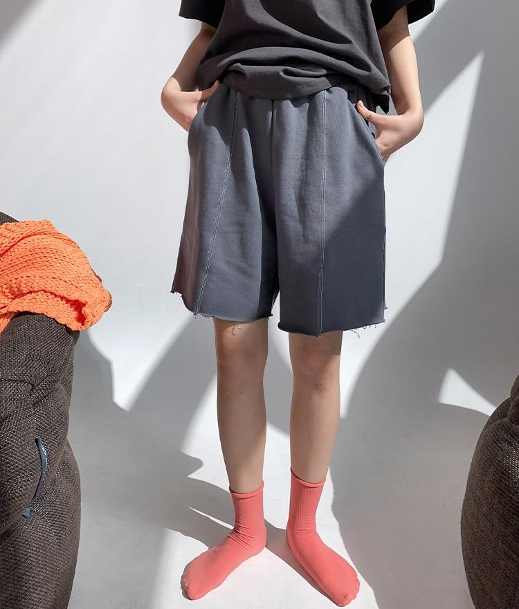 NEVERM!NDRaw Hem Wide-Leg Shorts