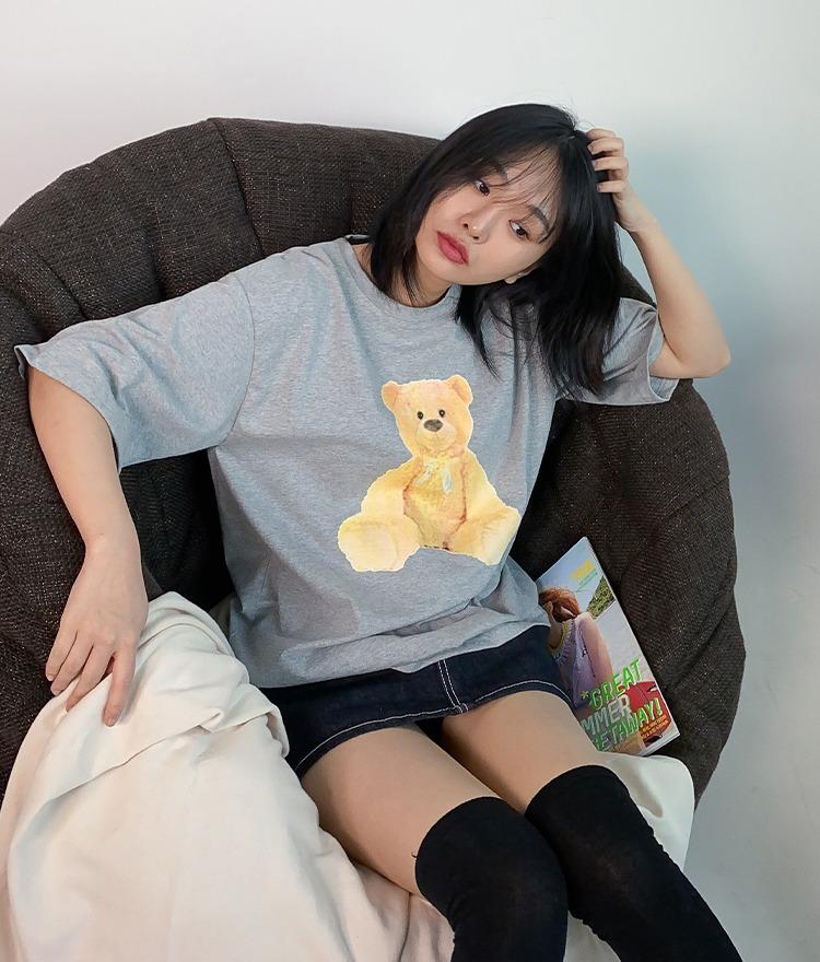 NEVERM!NDTeddy Bear Print Half Sleeve T-Shirt