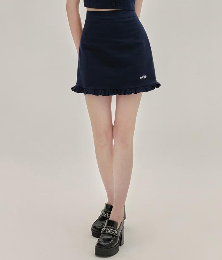 HEART CLUBNavy Frilled Hem Mini Skirt