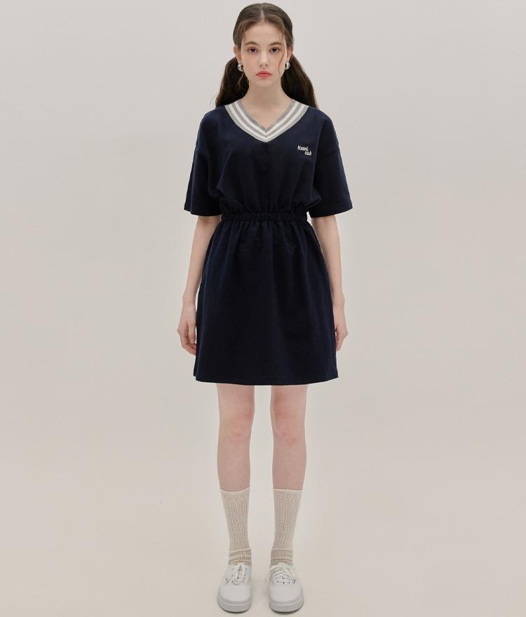 HEART CLUBNavy Elastic Waist Dress