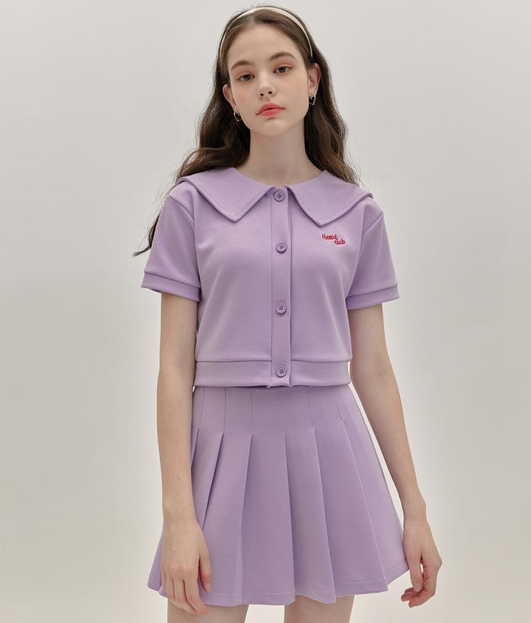 HEART CLUBLight Purple Sailor Collar Crop Cardigan