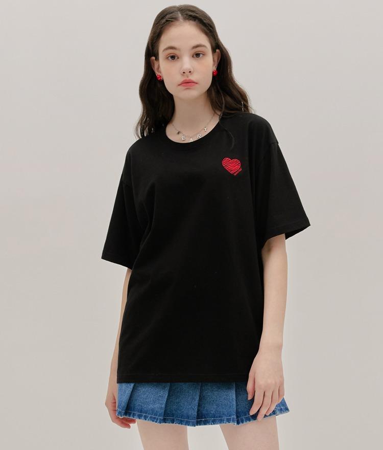 ドローハート半袖Tシャツ(ブラック)