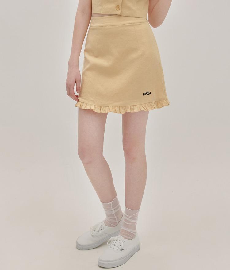 HEART CLUBYellow Frilled Hem Mini Skirt