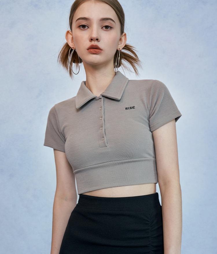 ロゴポロカラークロップドTシャツ(ライトカーキ)