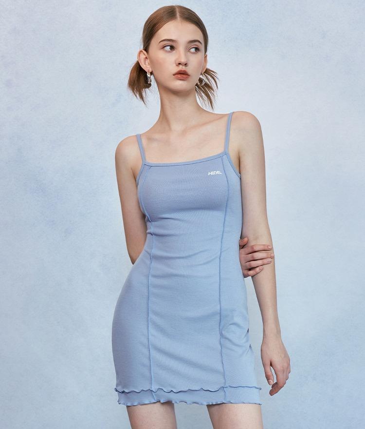 HIDESky Blue Lettuce Hem Sleeveless Dress