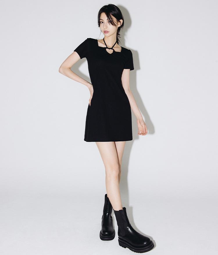 HEART CLUBHalter Strap Short Sleeve Dress