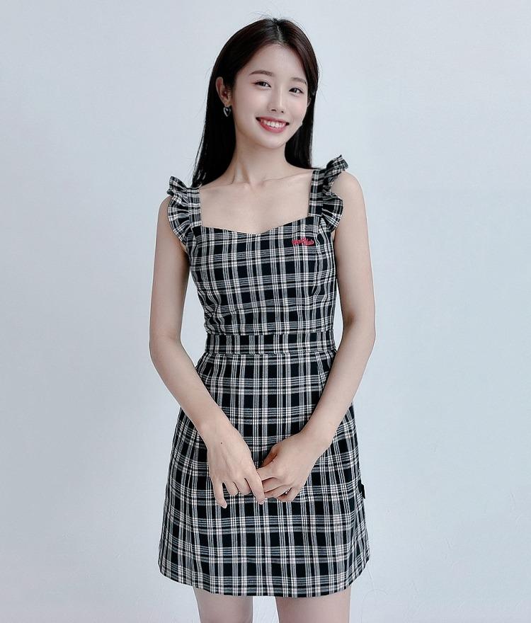 HEART CLUBCheckered Sleeveless Dress
