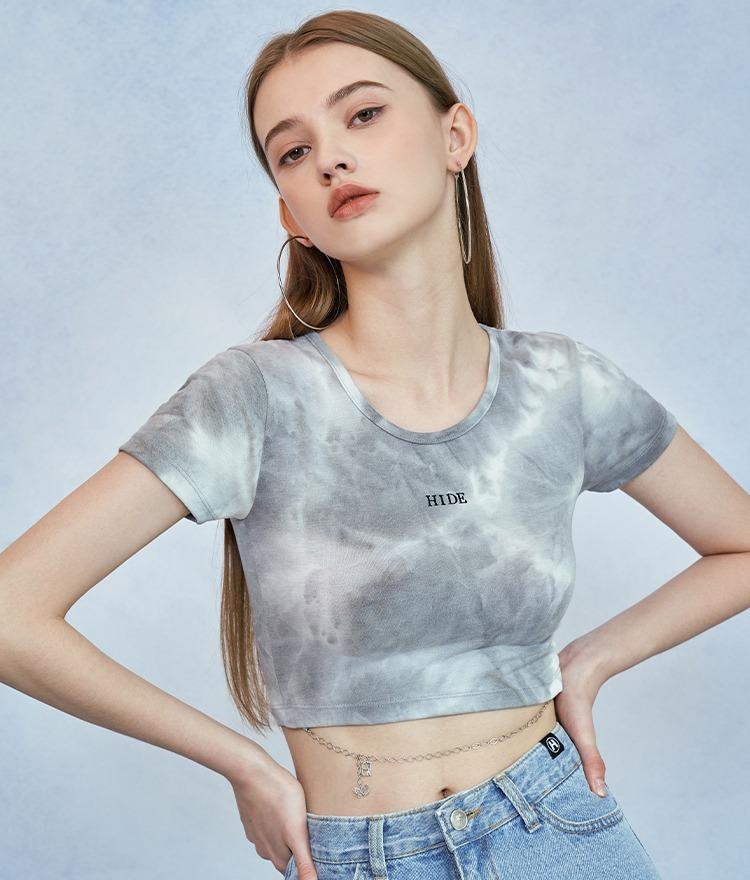 HIDEロゴチェーンクロップドTシャツ(ライトグレー)