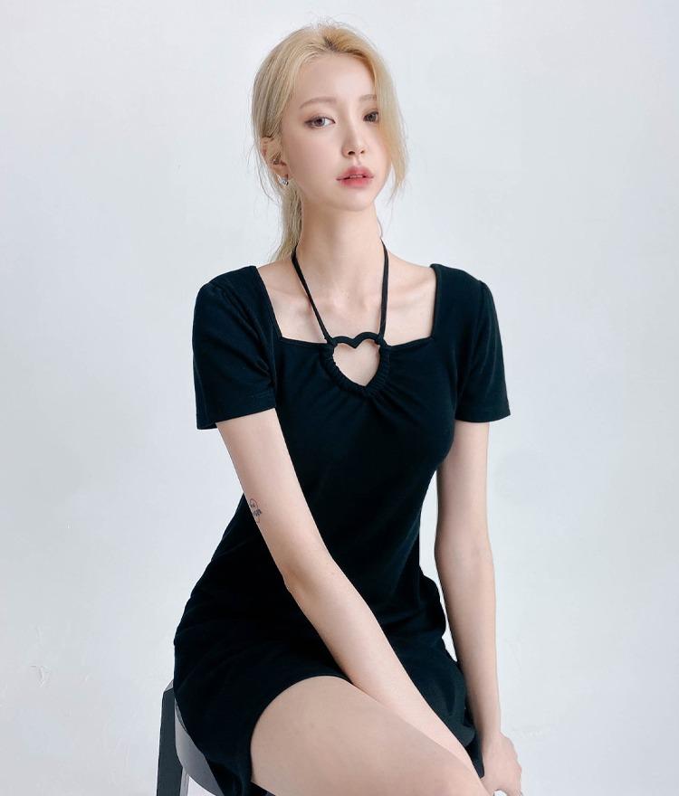 HEART CLUBHeart Cutout Short Sleeve Dress