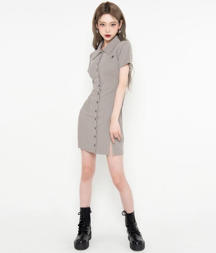 HIDELight Khaki Button-Front Dress