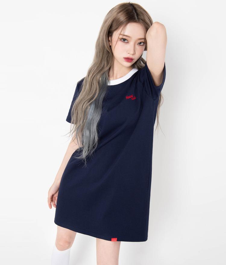 HEART CLUBContrast Neck Navy T-Shirt Dress