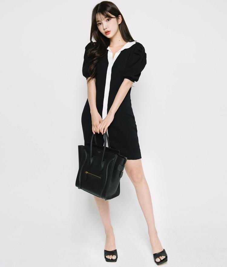 ROMANTIC MUSEContrast Placket Black Dress