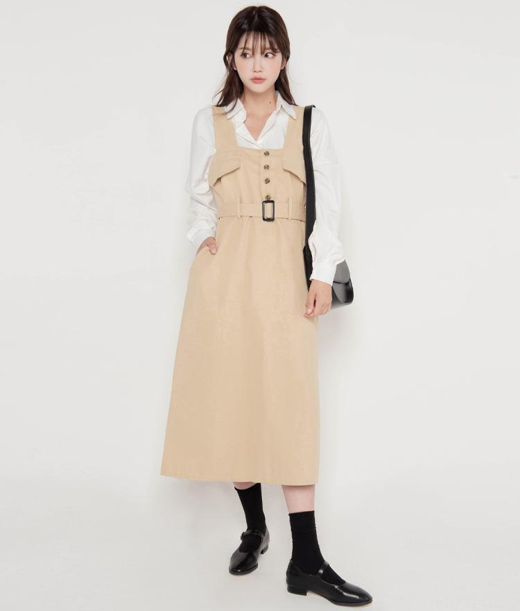 ROMANTIC MUSEBelted Sleeveless Long Dress