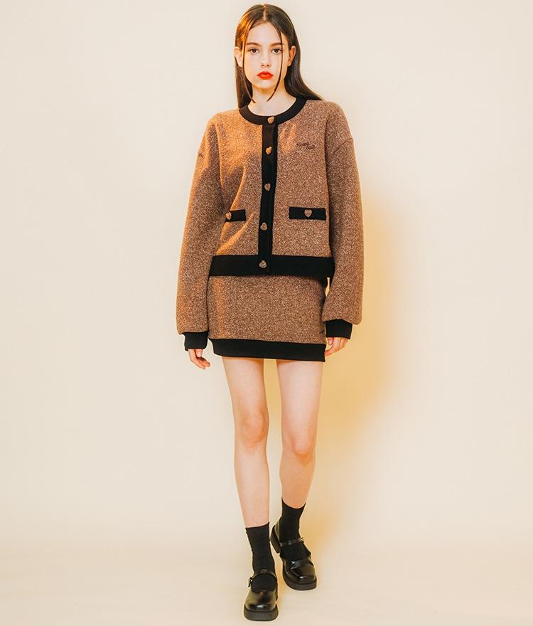 Heart Tweed Coloration Cardigan (Brown) Heart Tweed Coloration Skirt (Brown)SET
