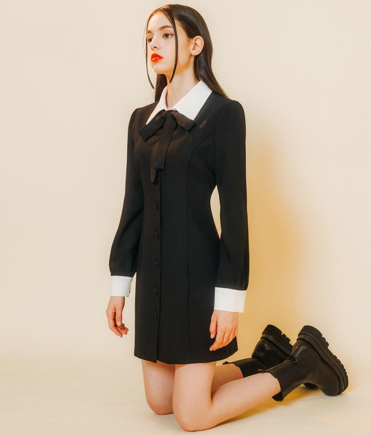 HEART CLUBBlack Button-Front Dress