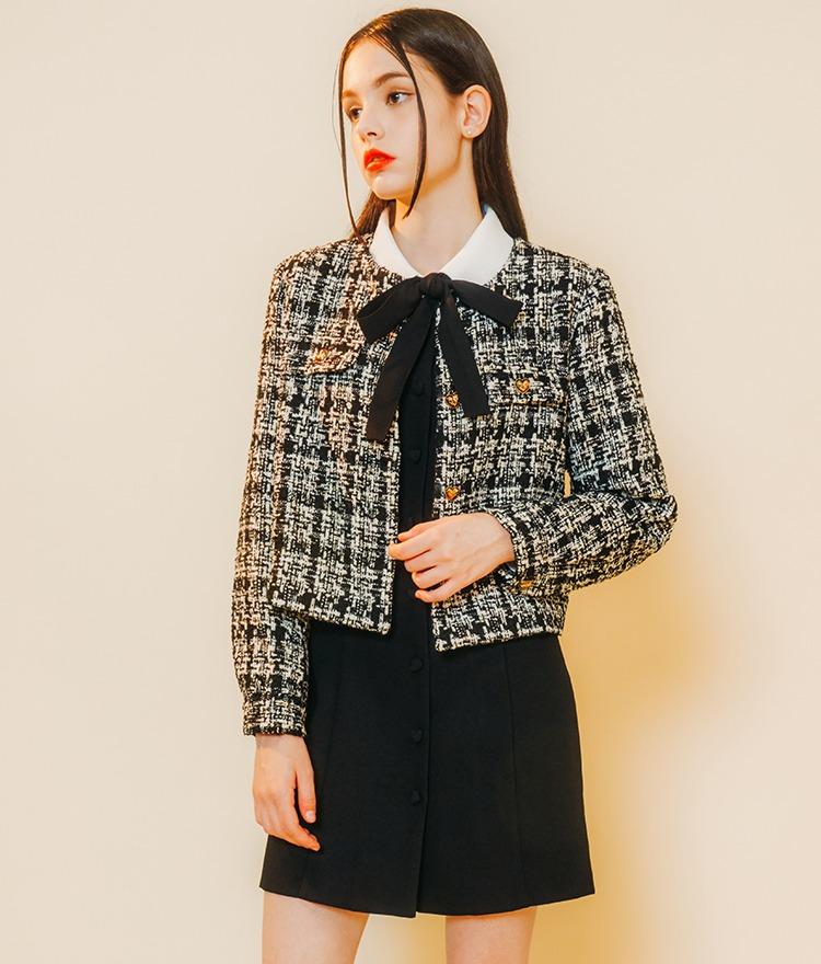 HEART CLUBBlack Check Boxy Tweed Jacket
